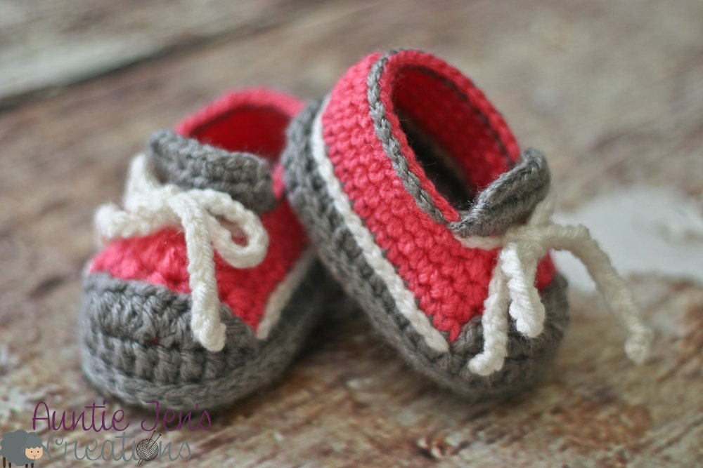 Crochet Baby Sneakers size 3-6 months by AuntieJensCreations