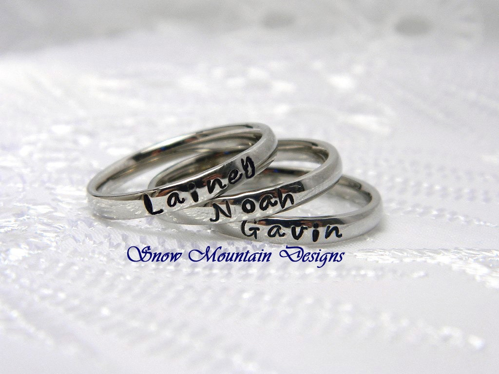 personalized stacking ring custom ring by snowmountaindesigns. Black Bedroom Furniture Sets. Home Design Ideas