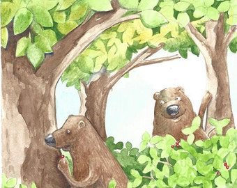 Sneaky Bear, watercolor, pen and ink original illustration