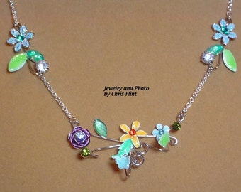 Delicate, colorful floral necklace - 18 inches - N103
