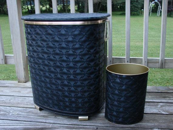 Pearl Wick Black Laundry Hamper And Waste Basket Vinyl Wicker