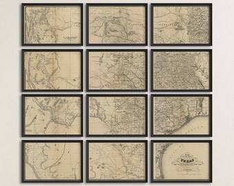 Old Texas Map Art Print 1867 Antique Map Archival Reproduction - Set of 12 Prints