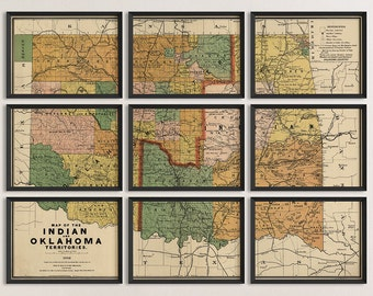 Old Oklahoma Map Art Print 1892 Antique Map Archival Reproduction - Set of 9 Prints