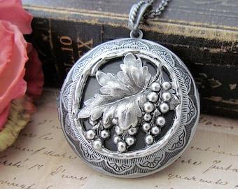 Grape Leaf  Cameo Antique Silver Large Locket Necklace, Vintage Inspired Grape Vine Locket Necklace