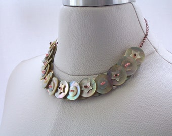 Button Necklace, Mother of Pearl Necklace, Shell Necklace, Petite Necklace, Button Jewelry
