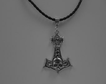 "Thors Hammer Pendant  with a Braided Leather Cord (adjustable 22"" to 23"") FREE SHIPPING"
