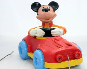 Vintage Mickey Mouse Pull Toy, Mickey Mouse Car Toy, Plastic Mickey Mouse 1970 Collectable Toy, Baby Toddler Toy Walt Disney Original