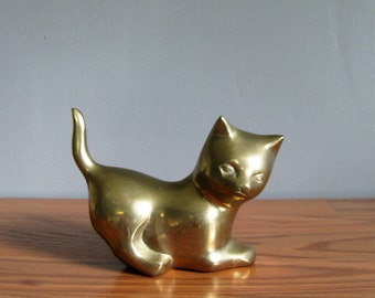 Brass Kitty, Brass Cat, Cat Lover, Cat Lover Gift, Cat Paperweight, Brass Animal, Crazy Cat lady