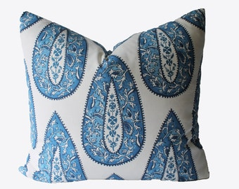 Decorative Designer Indigo Paisley Blue Pillow Cover, 18x18, 20x20, 22x22 or Lumbar Throw Pillow