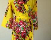 DD4 Yellow Kimono Robe - Bridesmaids robe, Bridesmaids gift, Cotton Floral Print Bath Robes, Getting ready robe