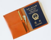 Passport Cover - Personalized Leather Passport Holder with Card Slots in Orange Brown - for Travel - Hand Stitched - Free Monogram