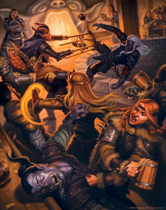 Brawl At The Yawning Portal Tavern Print From Dungeons