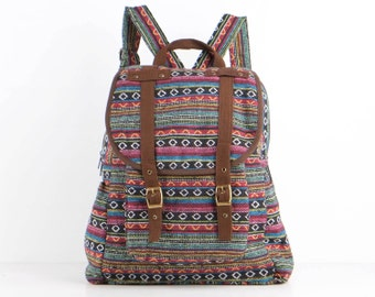 Rainbow Hippie Backpack Daycare Bag, Student/ Travel/ College/ Teen/ Hipster/ Boho Gypsy (Brown Trim)
