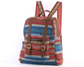 Aztec Backpack Travel Bag Woven Cotton Textile, Southwestern, Boho, Hippie, Unisex (Brown Trim)
