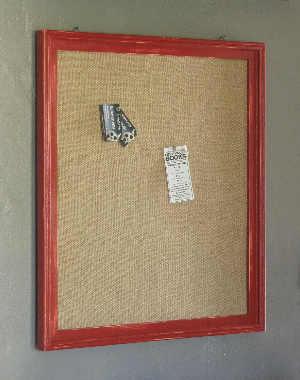 red distressed wood framed burlap covered cork board 21x. Black Bedroom Furniture Sets. Home Design Ideas