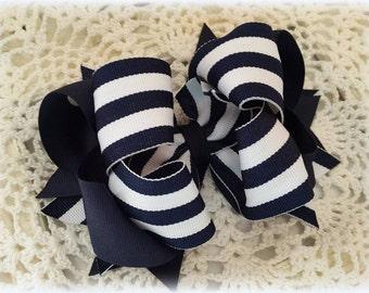 Uniform Bow....Navy and White Uniform Bow...Uniform Hair Bow...Navy Stripe Hair bow...Striped Hair Bow...Girls Hair Bow