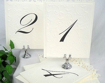 Table Number Cards Lace Wedding Reception Place Card Embossed Elegant Ivory Cream or White Reusable Table Reception Cards Custom Any Color