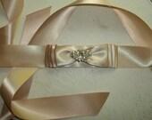 Bridal Sash, MANY COLORS, Wedding Sash for Wedding Dress, Bridal Gown, Satin Ribbon Sash, Rhinestone Sash, Rhinestone Brooch, Bride Gift