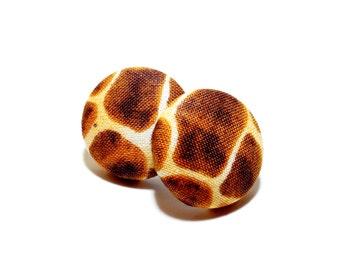 Small Giraffe Print Button Earrings