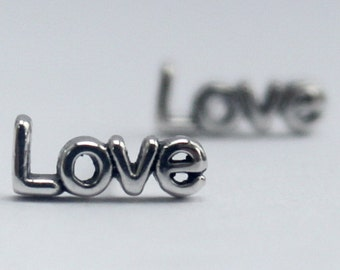 Sterling silver Stud Earrings, Mix n' Match words and symbols, Statement, Love, Joy, Peace, Hope, Lotus, Heart, Diamond, Infinity, Smiley