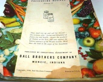 Vintage 1940s Edition T Canning and Preserving Recipes Ball Blue Book