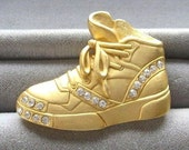 1980s Vintage Rhinestone Gold Tennis Shoe Brooch Marked JJ