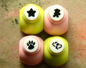 A Set of Mini Paper Punch (Pick 1) -Star Shaped Flower, Toy Bear, Paw, Or Double Hearts
