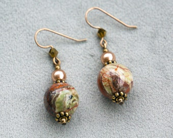 "Handmade Earrings, ""Majestic Earth"" Collection - Natural Brass, Ocean Jasper, Swarovski Crystals, Swarovski Glass Pearls"