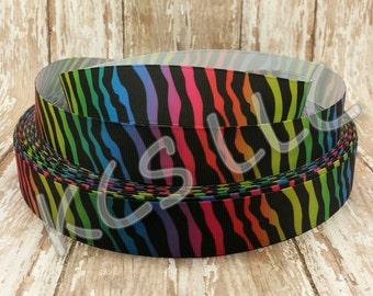 7/8 Grosgrain Rainbow Zebra Ribbon 5 yards
