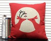 Christmas deer Decorative Pillow Case,Cushion Cover,Cotton Linen Pillow Cover,Eco-friendly Creative Bedding Pillow Case,wedding gift