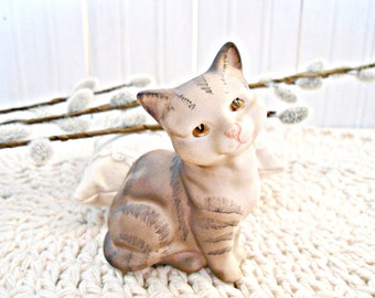Vintage Beswick Grey Kitten Cat Figurine - Grey Matt Finish Collectible Cat Figurine Signed
