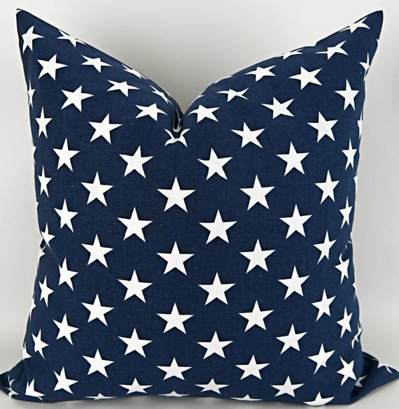 navy stars pillow cover any size blue white by deliciouspillows. Black Bedroom Furniture Sets. Home Design Ideas