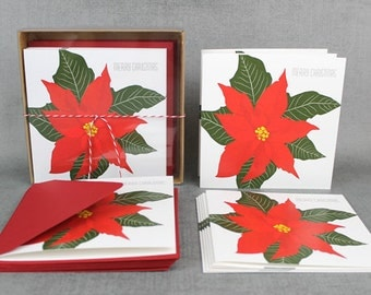 boxed Christmas cards Poinsettia