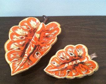 Two Vintage 1960s Treasure Craft Leaf Ashtrays