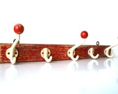 RESERVED! Red and white 5 hook/ball coat rack mid century Germany