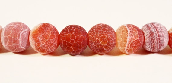 Fire Agate Gemstone Beads 6mm Round Red Reddish Brown Matte Frosted Cracked Agate Stone Beads on a 7 Inch Strand with 30 Beads
