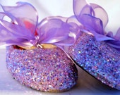 FLOWER GIRL SHOES~ Bridal Shoes~ Glittered Ballet Flats~ With or Without Ribbon~ Wedding Flats~ Sparkly Shoes~ Lavender~Fast Service!