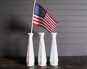 Three White Milk Glass Vases for Wedding Cottage Decor