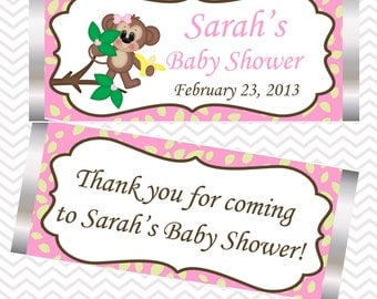 Pink Monkey  - Personalized Candy Bar Wrapper Birthday Baby Shower