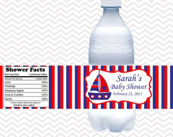 Nautical Blue Red  - Personalized water bottle labels - Set of 5  Waterproof labels