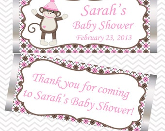 Sock Monkey Pink - Personalized Candy Bar Wrapper
