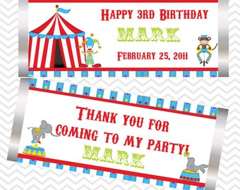 Circus - Personalized Candy Bar Wrapper, Birthday, Baby Shower