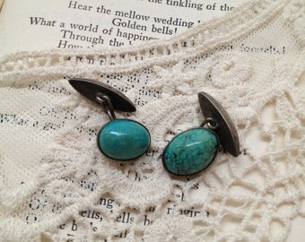 Turquoise Green Silver Tone Cuff Links