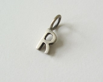 Silver initial R charm pendant