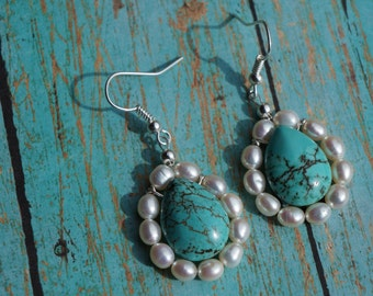 Freshwater Pearl Earrings, Turquoise Teardrop, Country Elegance, Boho Chic