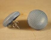 Button Earrings- Light Blue Tulle Fabric Button Earrings- Post/ Stud