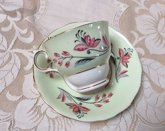 Vintage Bone China Teacup and Saucer, Colclough China, Made in England, 1960s