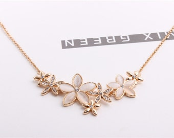 Gold  Plate Opal Crystal Flower Fashion Necklace