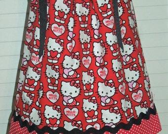 A Boutique Pillowcase Dress Featuring Hello Kitty - Hearts Sizes 3 months thru 6/7 :CH060