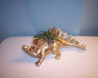 Gold Painted Stegosaurus Dinosaur Planter Plastic Toy and Planted with  Assorted Succulents Can Still Ship for Christmas